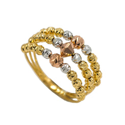 22K Multi Tone Gold Ring W/ Multi Split Beaded Band