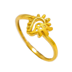 22K Yellow Gold Ring W/ Asymmetric Eyelet Design