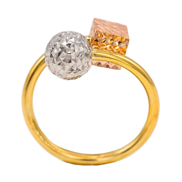 22K Multi Tone Gold Ring W/ Textured Ball & Cube on Crossover Band | 22K Multi Tone Gold Ring W/ Textured Ball & Cube on Crossover Band for women. This beautiful ...