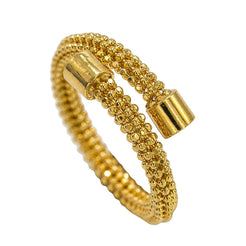 22K Yellow Gold Ring W/ Crossover Beaded Band & Solid Smooth Tips