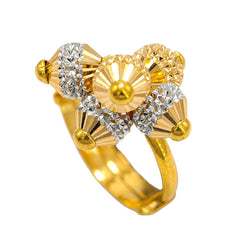 22K Multi Tone Gold Ring W/ Textured Yellow Gold Baubles With Yellow & White Gold Baubles
