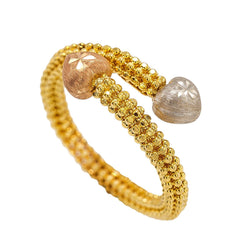 22K Multi Tone Gold Ring W/ Crossover Beaded Band & Stone Finish Accents