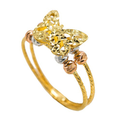 22K Multi Tone Gold Ring W/ Butterfly Accent & Textured Bead Balls
