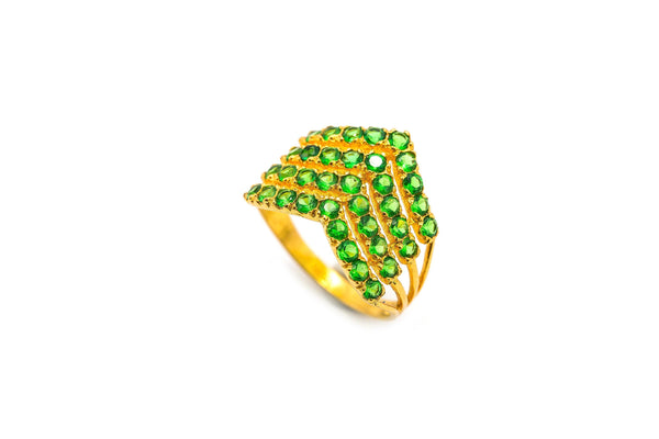 22K Yellow Gold Ring W/ Emeralds & Layered Arrow Design |  22K Yellow Gold Ring W/ Emeralds & Layered Arrow Design for women.  Complement your outfit w...