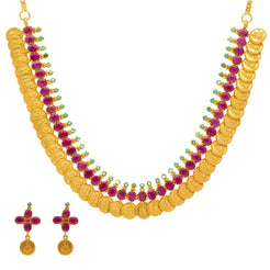 22K Yellow Gold Laxmi Kasu Necklace & Earrings Set W/ Rubies & Emeralds