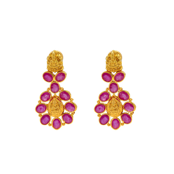 An image of the Indian gold earrings with ruby embellishments from Virani Jewelers. | Celebrate your culture in style with a beautiful 22K gold necklace set from Virani Jewelers!  Des...