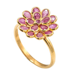 22K Yellow Gold Ruby Ring W/ Faceted Flower