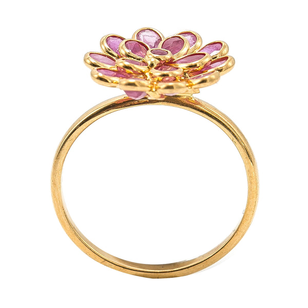 22K Yellow Gold Ruby Ring W/ Faceted Flower | SOLD 22K Yellow Gold Ruby Ring W/ Faceted Flower for women. Add a daily hint of radiance to any a...