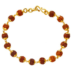 22K Yellow Gold Beaded Rudraksha Stone Bracelet