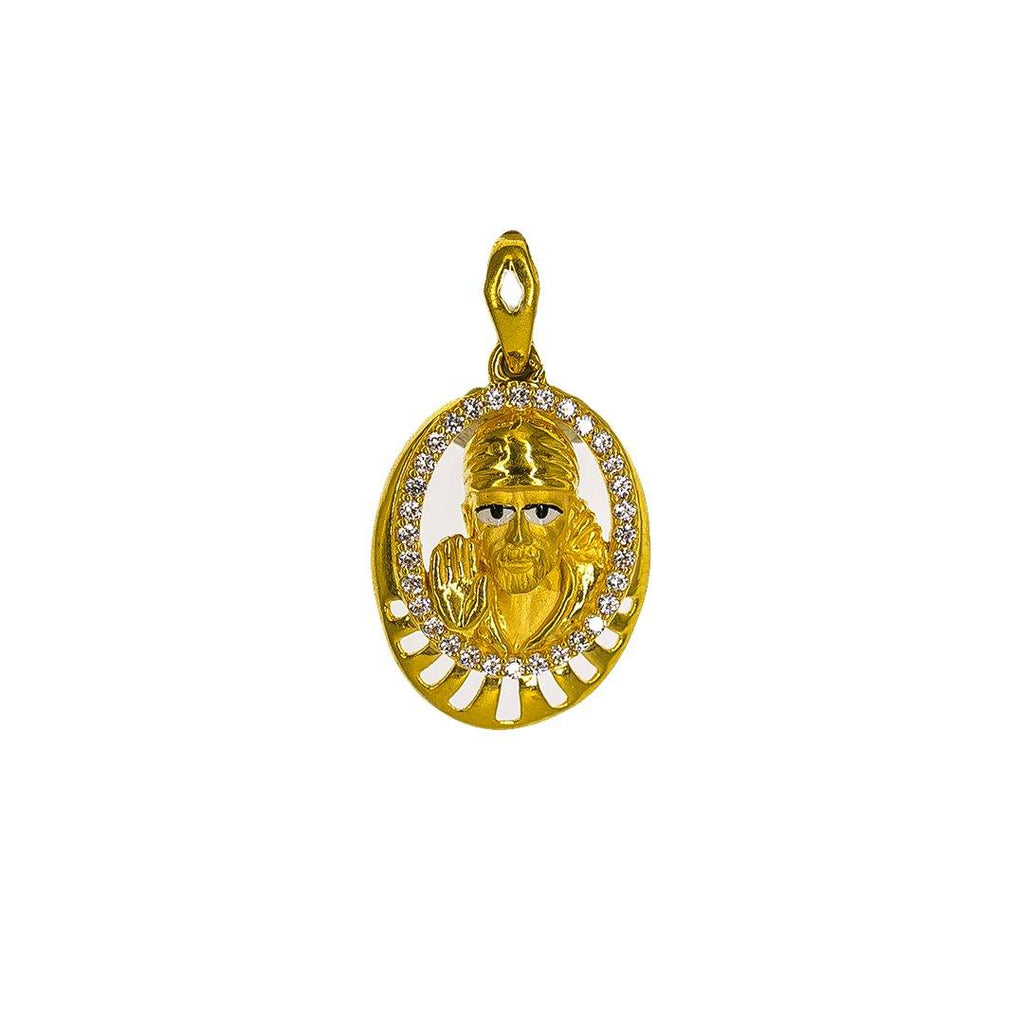 22K Yellow Gold Sai Baba Pendant W/ CZ Gems, Hand Paint & Round Frame | 22K Yellow Gold Sai Baba Pendant W/ CZ Gems, Hand Paint & Round Frame for men and women. This...