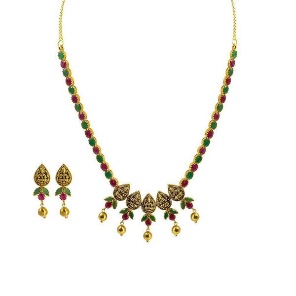 22K Yellow Gold Set Necklace & Earrings W/ Rubies, Emeralds & Pear-Shaped Laxmi Coins |  22K Yellow Gold Set Necklace & Earrings W/ Rubies, Emeralds & Pear-Shaped Laxmi Coins fo...