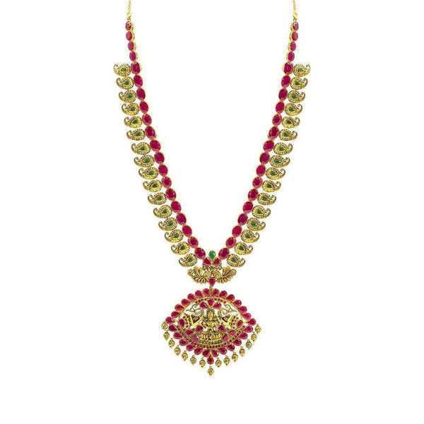 22K Yellow Gold Set Necklace & Earrings W/ Rubies & Emeralds on Laxmi Eyelet Pendant & Engraved Mango Accents | 22K Yellow Gold Set Necklace & Earrings W/ Rubies & Emeralds on Laxmi Eyelet Pendant &...