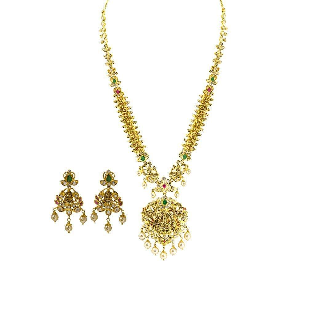 22K Yellow Gold Set Necklace & Earrings W/ Rubies, Emeralds, Pearls and CZ on Chandelier Laxmi Pendant |  22K Yellow Gold Set Necklace & Earrings W/ Rubies, Emeralds, Pearls and CZ on Chandelier Lax...