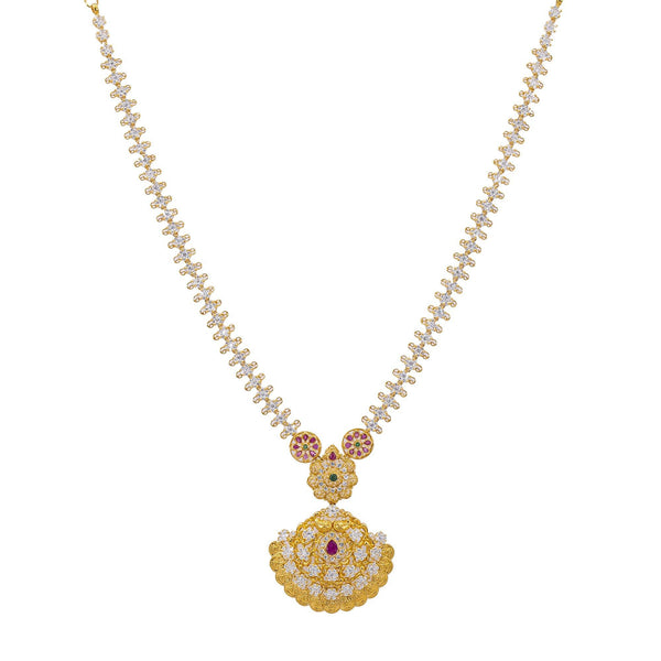 An image of the 22K gold necklace with emeralds, rubies, and uncut diamonds from Virani Jewelers. | Add a little sparkle to your attire with this gorgeous 22K gold necklace from Virani Jewelers!  D...