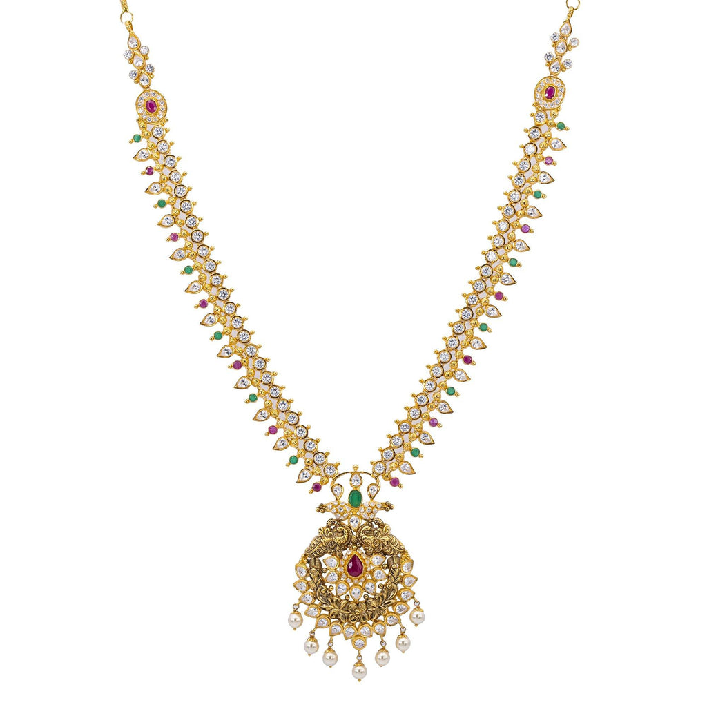 22K Gold & Gemstone Esha Laxmi Necklace |    Our 22K Gold & Gemstone Esha Laxmi Necklace signifies opulence and status. This one of kin...
