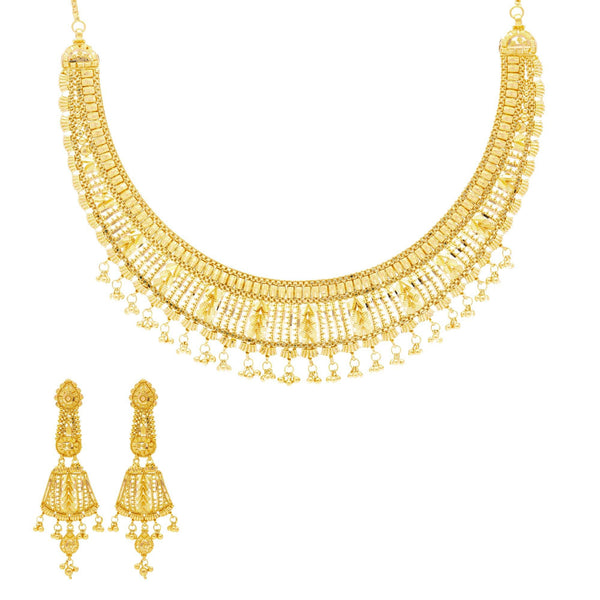 22K Gold Grace Jewelry Set |  Bring life to any look with the 22K Gold Grace Jewelry Set from Virani Jewelers. This simple and...