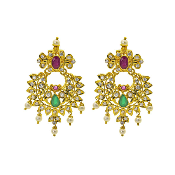 An image of the Bhavna 22K gold earrings with pearl, CZ gemstone, ruby, and emerald embellishments from Virani Jewelers. | Be the most beautiful person in the room with this gorgeous 22K gold necklace set from Virani Jew...