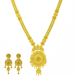 An image of the Veblen 22K gold necklace set from Virani Jewelers.