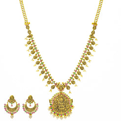 An image of the Anvi Antique Laxmi 22K gold necklace set from Virani Jewelers.