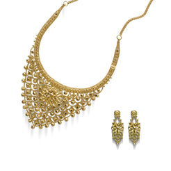 22K Yellow Gold Necklace & Earrings Set W/ Pointed Bib & Faceted Flower Decal