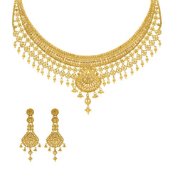 22K Yellow Gold Necklace & Earrings Set w/ Light fixture collar