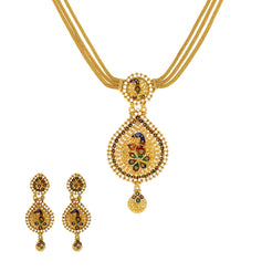 22K Patterned Yellow Gold CZ Necklace with Earrings Set