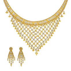 22K Yellow Gold Necklace with Temple shaped Earrings Set