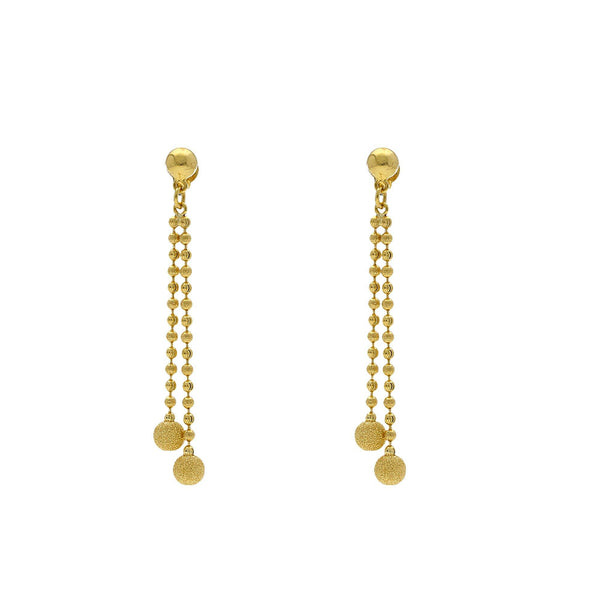 An image of a pair of 22K yellow gold earrings that match an Indian necklace from Virani Jewelers | Use this 22K yellow gold necklace and earring set from Virani Jewelers to add lustrous elegance t...