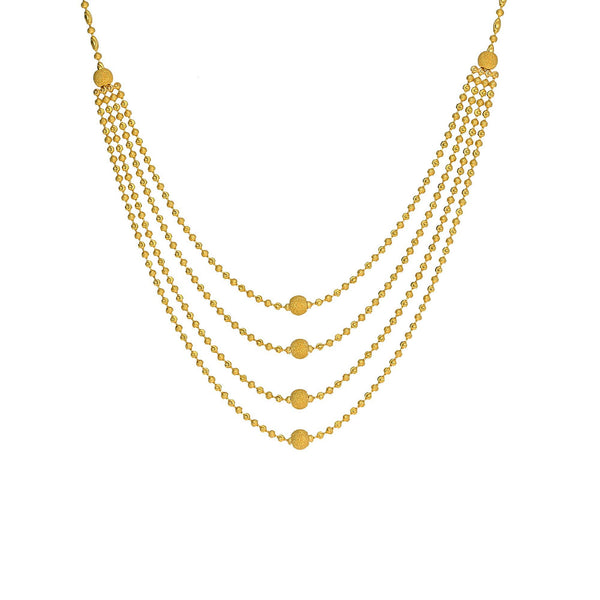 An image of a multi-strand 22K yellow gold necklace from Virani Jewelers | Use this 22K yellow gold necklace and earring set from Virani Jewelers to add lustrous elegance t...