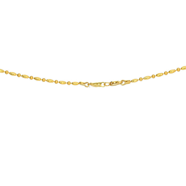 An image of the clasp on a beautiful Indian necklace from Virani Jewelers | Use this 22K yellow gold necklace and earring set from Virani Jewelers to add lustrous elegance t...