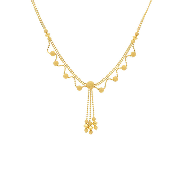 22K Yellow Gold Elegant Singapore set with Earrings - Virani Jewelers |    Spread royal charm with this elegantly-styled necklace set in fine gold combination. Ramp up y...