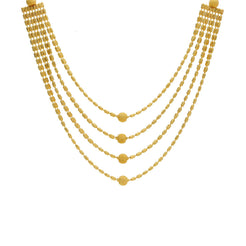 22K Yellow Gold Multi-Layer Necklace W/ Four Strands, Centered Balls & Tubular Beads
