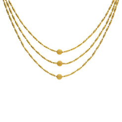 22K Yellow Gold Triple-Strand Necklace W/ Centered Balls & Tubular Beads