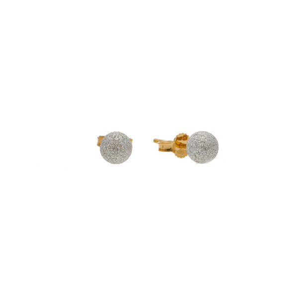 A side image showing the post on the 22K gold multi-tone earrings from Virani Jewelers. | Complete your look with these gorgeous Multi-Tone Gold Glass Blast Ball Studs from Virani Jeweler...