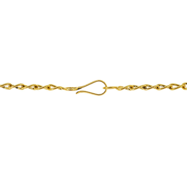 An image of the hook clasp on the 22K gold Roshni necklace from Virani Jewelers. | Discover a 22K gold necklace set that is truly one-of-a-kind at Virani Jewelers!  Features a trad...