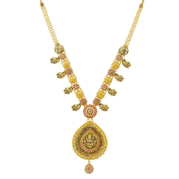 An image of the details and embellishments on the 22K gold necklace from Virani Jewelers. | Discover a 22K gold necklace set that is truly one-of-a-kind at Virani Jewelers!  Features a trad...