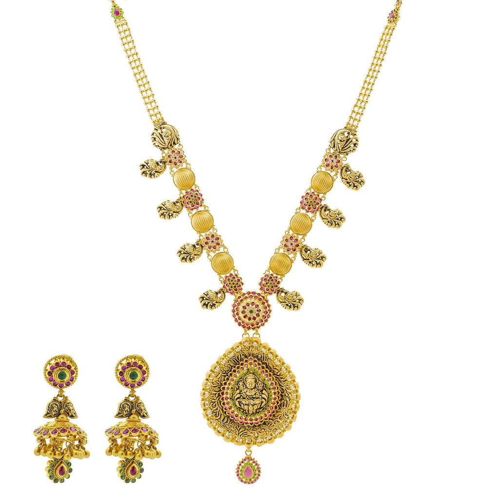 An image of the vintage 22K gold necklace set from Virani Jewelers. | Discover a 22K gold necklace set that is truly one-of-a-kind at Virani Jewelers!  Features a trad...
