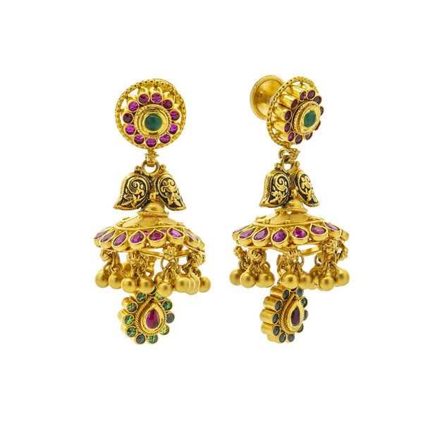 An image of the front and side views of the 22K gold earrings from Virani Jewelers. | Discover a 22K gold necklace set that is truly one-of-a-kind at Virani Jewelers!  Features a trad...