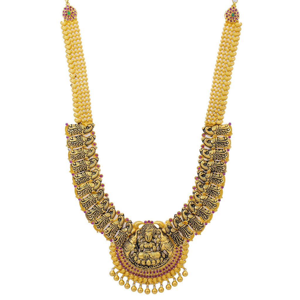 22K Gold Laxmi Temple Necklace |    The elaborate 22K Gold Laxmi Temple Necklace can only be found at Virani Jewelers! This one of...