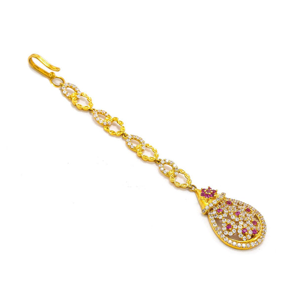 22K Yellow Gold Tikka W/ Rubies, CZ & Drop Pear Pendant |  22K Yellow Gold Tikka W/ Rubies, CZ & Drop Pear Pendant for women. This radiant 22K yellow g...