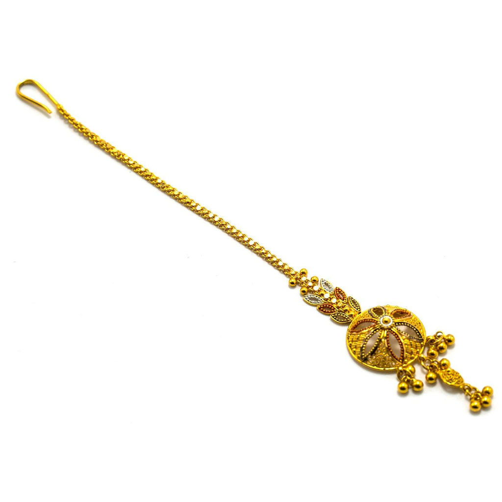 22K Multi Tone Gold Tikka W/ Meenakari Hand Paint & Laser Cut Flower Design |  22K Multi Tone Gold Tikka W/ Meenakari Hand Paint & Laser Cut Flower Design for women. This ...