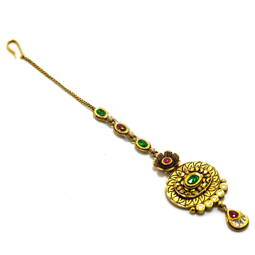 22K Yellow Gold Tikka W/Rubies, Emeralds, Kundan & Faceted Antique Finished Design |  22K Yellow Gold Tikka W/Rubies, Emeralds, Kundan & Faceted Antique Finished Design for women...