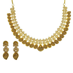22K Yellow Gold Uncut Diamond Antique Temple Necklace Set W/ 9.39ct Uncut Diamonds & Laxmi Accents