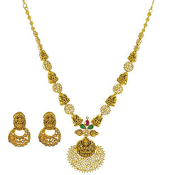 22K Yellow Gold Uncut Diamond Antique Temple Necklace Set W/ 7.36ct Uncut Diamonds, Rubies, Emeralds & Laxmi Pendants