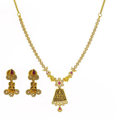 22K Yellow Gold Uncut Diamond Antique Temple Necklace Set W/ 7.13ct Uncut Diamonds, Rubies & Laxmi Pendants