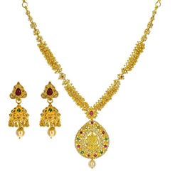 22K Yellow Gold Uncut Diamond Temple Necklace Set W/ 6.46ct Uncut Diamonds, Rubies, Emeralds, Pearls & Laxmi Pendants