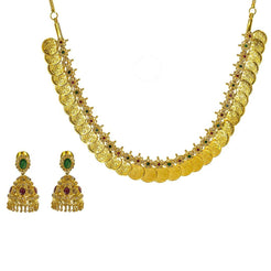 22K Yellow Gold Uncut Diamond Laxmi Necklace Set W/ 6.6ct Uncut Diamonds, Rubies, Emeralds, & Laxmi Kasu