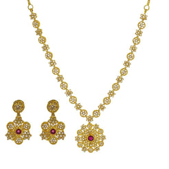 22K Yellow Gold Uncut Diamond Necklace Set W/ 11.6ct Uncut Diamonds & Rubies