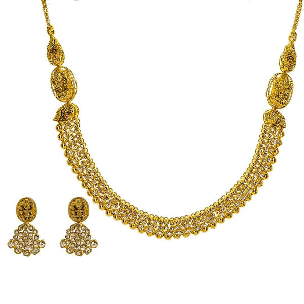 22K Yellow Gold Uncut Diamond Laxmi Necklace Set W/ 9.78ct Uncut Diamonds, Rubies & Laxmi Pendants | 22K Yellow Gold Uncut Diamond Laxmi Necklace Set W/ 9.78ct Uncut Diamonds, Rubies & Laxmi Pen...