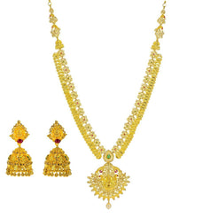 22K Yellow Gold Uncut Diamond Laxmi Necklace Set W/ 22.74ct Uncut Diamonds, Rubies, Emeralds, Pearls & Laxmi Kasu